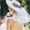 2016 Nuevo Diseño de Señora Royal Boda Fascinator Sombrero de Flores Sombrero de Encaje de Flores Grandes de Malla Plana Vendimia Novia Shooting Party Tocado