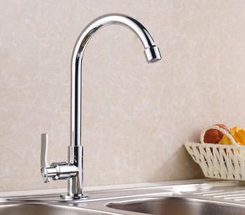 Single Function Elegant Chrome Brass Swivel Spout Kitchen Sink / Basin Crane / Torneira Cozinha Faucet Mixer Tap (HJ-8301L)
