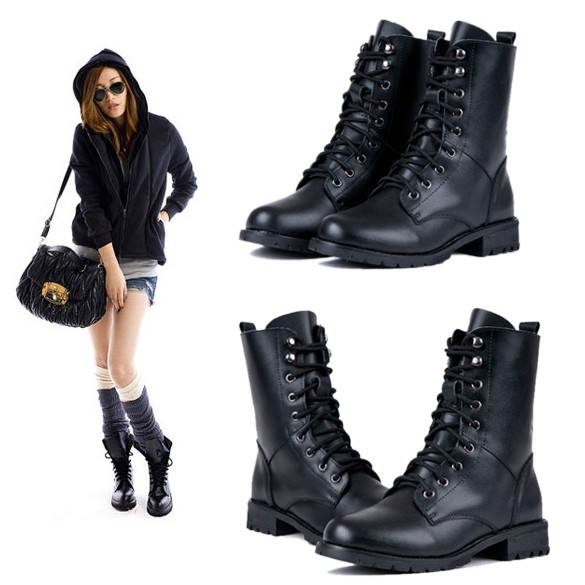 2015 New Time-limited Women Solid Botas Femininas Bota Fashion Women's Cool Punk Military Army Knight Lace-up Short Boots Shoes женские блузки и рубашки hi holiday roupas femininas blusa blusas femininas