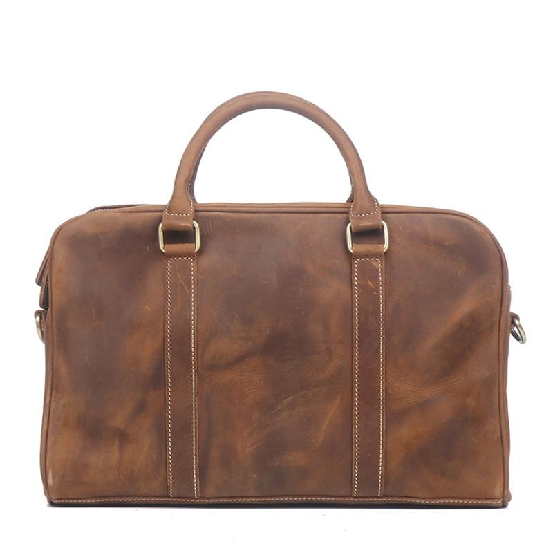Nesitu Highend Vintage Brown Black Genuine Crazy Horse Leather Office 14'' Laptop Men Briefcase Portfolio Messenger Bag M1071