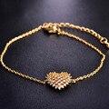 Love Heart Korean Bracelet For Women New Year Gold Plated Copper Jewelry CZ Zircon Rhinestone Pulseira Wedding Mujer Bijoux