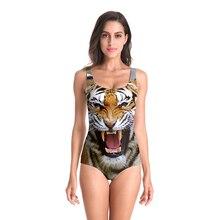 One-Piece Suits Swimwear Beach Wear Tiger Digital Printed Women Sleeveless Sexy High Cut Ladies Bathing Suit One Piece Swimsuit