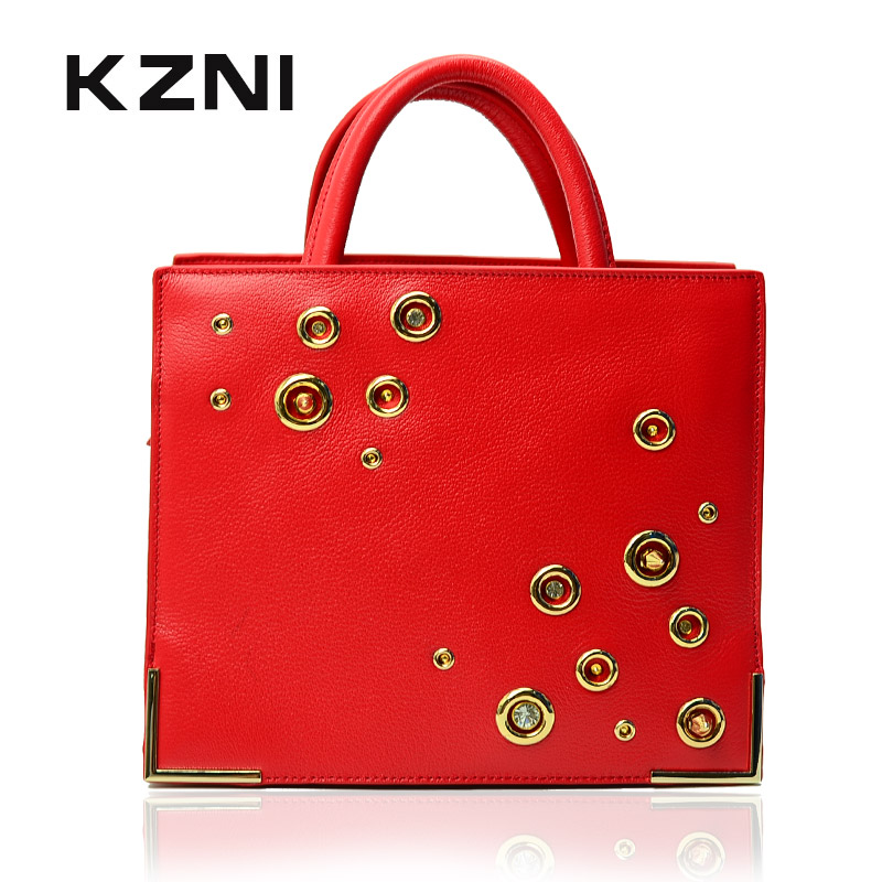 KZNI Real Leather Rivet Crossbody Top Handle Bags Female Luxury Crystals 2017 Women Evening Bags Designer Bolsos De Mujer 1410 купить