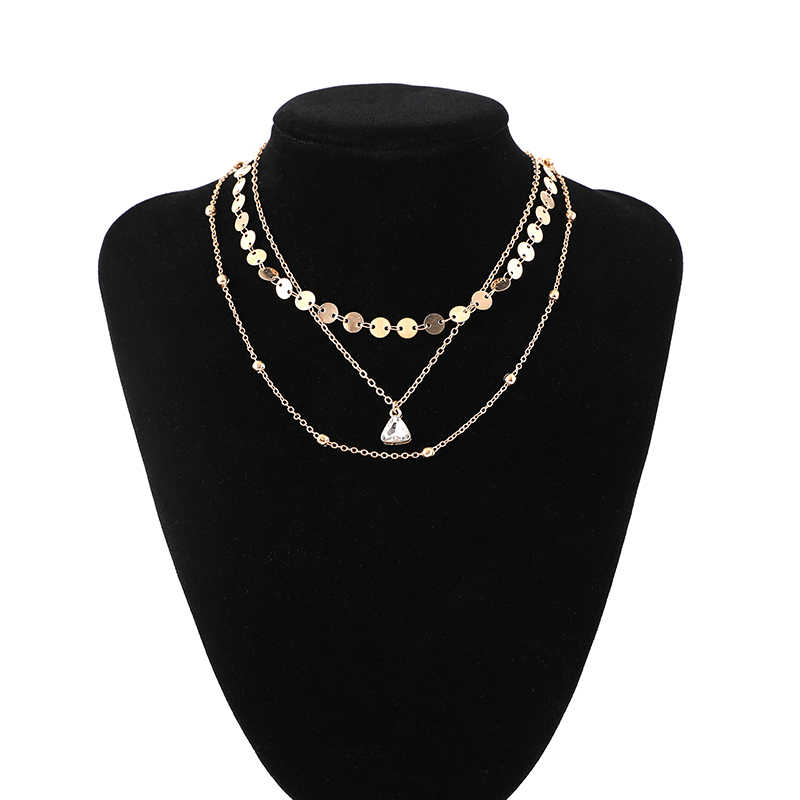 Shuangsheng 2018 Original design Sexy Multilayer choker Gold Sequins Rhinestone Pendants Chain Necklace Choker Collar Women gift