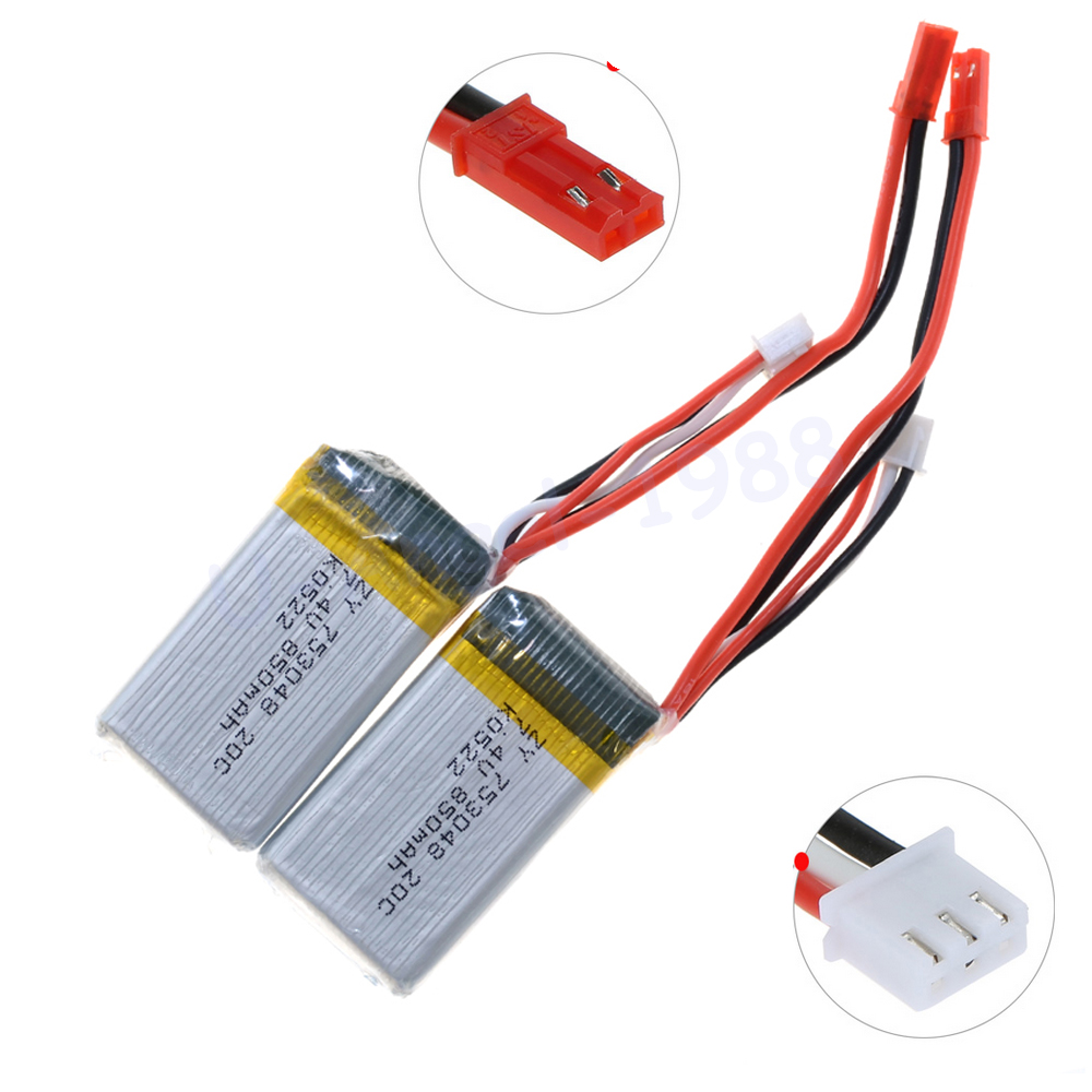 2pcs/lot Rc <font><b>Lipo</b></font> Battery 7.4V <font><b>850mAh</b></font> 20C <font><b>2s</b></font> for MJX X600 WLtoys V921 RC Quadcopter Parts image