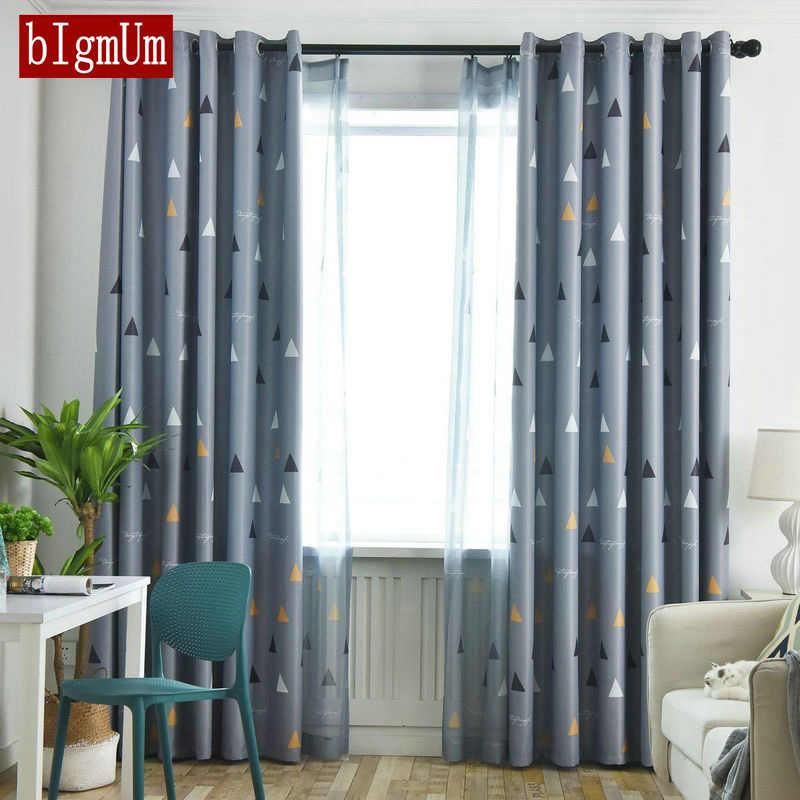 Modern Geometry Printed Sheer Curtain Bedroom Living Room Blue