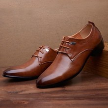 Tops Shoes Fashion Men Business Leather Shoes Casual Pointed Toe Lace Shoe Male Suit Leather Fashion Shoes 30