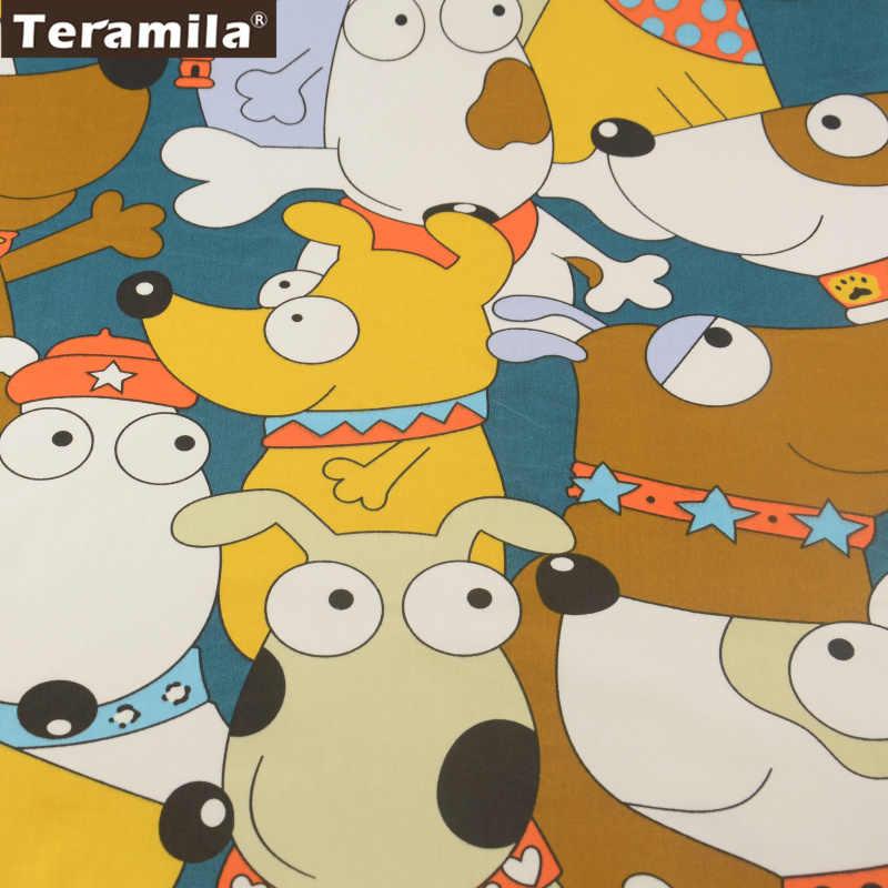 News Cartoon Lovely dogs Design 100% Dark Green Cotton Fabric Fat Quarter Home Textile Material Bed Sheet Patchwork