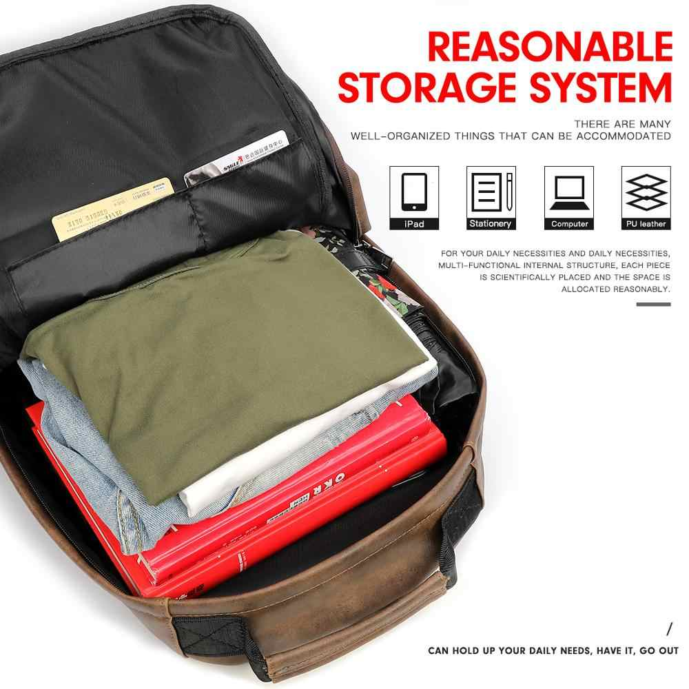 VICUNA POLO, Одноцветный кожаный мужской рюкзак, сумка с usb зарядкой, Большой Вместительный бизнес рюкзак, высокое качество, школьный повседневный мужской рюкзак