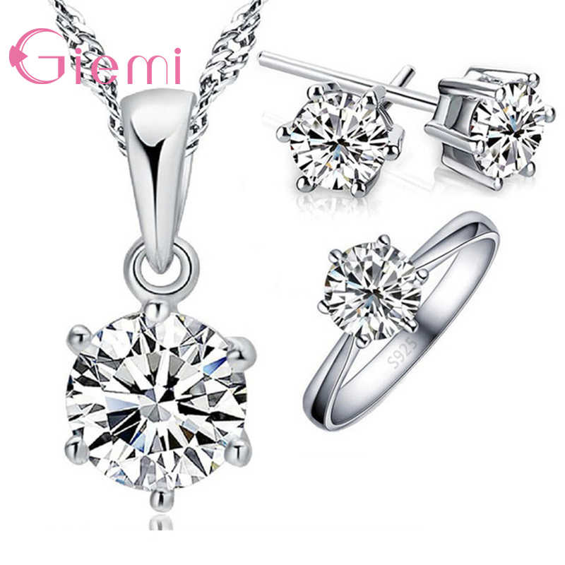 Classic Woman Birthday Gift Wedding Jewelry Set 3 pc/set Fashion 925 Sterling Silver White Crystal Necklace Ring Earring