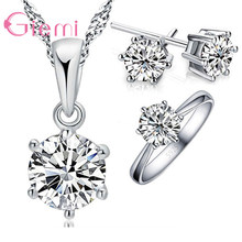 Giemi Classic Woman Birthday Gift Wedding Jewelry Set 3 pc/set Fashion 925 Sterling Silver White Crystal Necklace Ring Earring(China)