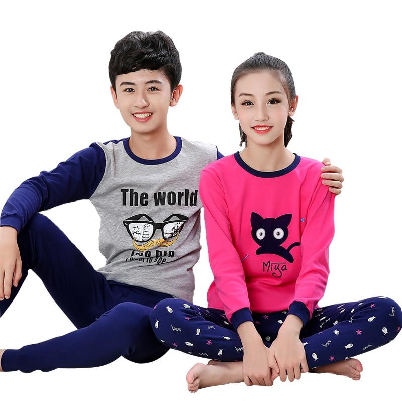 a39575044f 11-18 Years Winter Spring Autumn Big Children Pyjamas Kids Cartoon Clothing  Pajamas Sets for Boys Cute Nightwear Girls Sleepwear