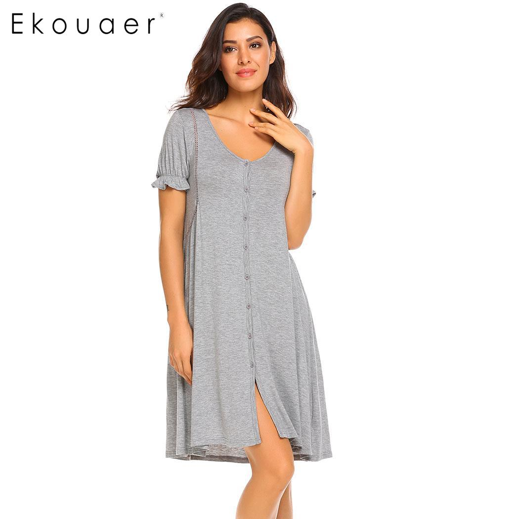 Ekouaer Women Nightgowns Nightdress Short Sleeve Button Front Female Night Gown Sleep Shirt Dress Sleepwear Plus Size S-XXL 1