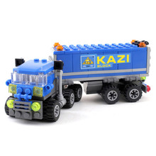Kazi New Arrival 163pcs Transport Dumper Truck Model Building Blocks Can Build 4 Shapes Educational Toys Kids Gifts Wholesale