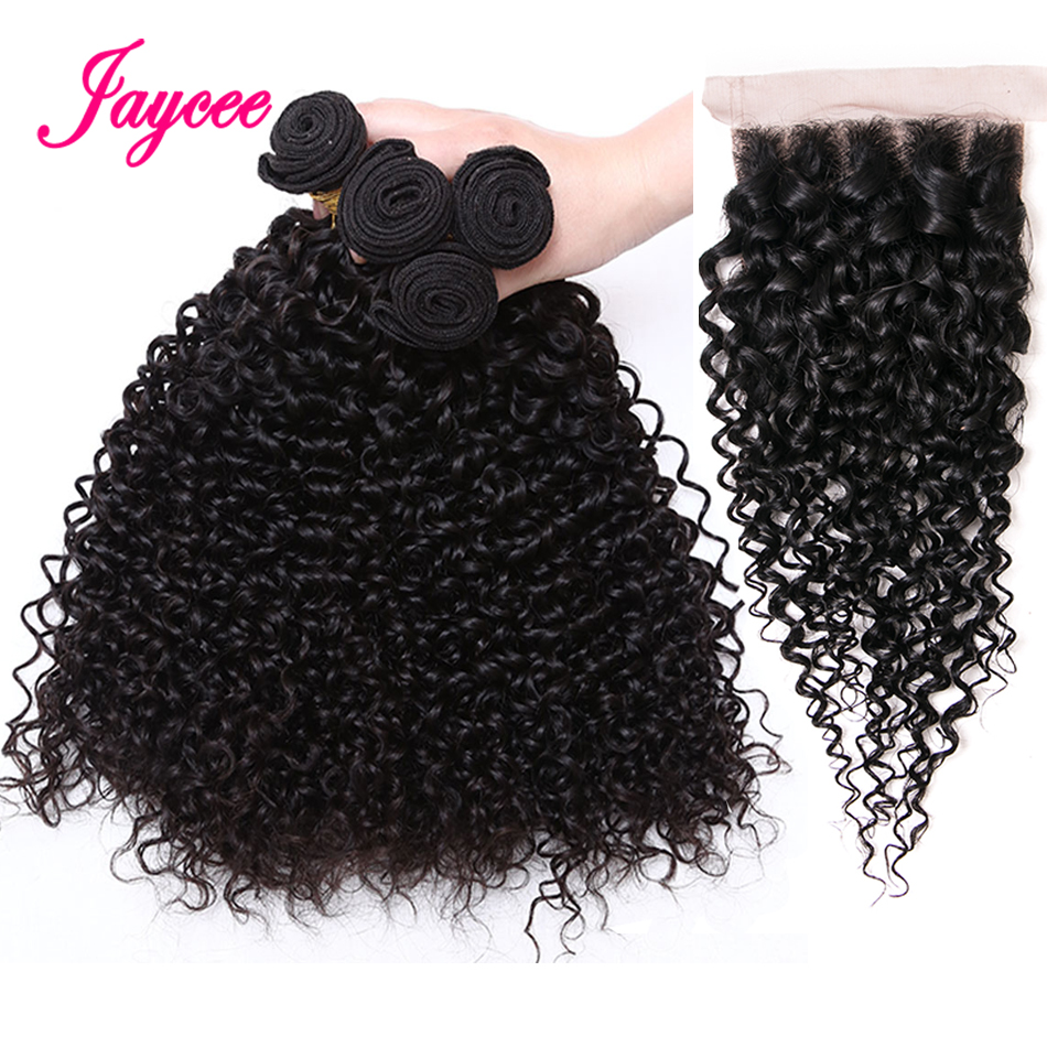 Jaycee Malaysian Kinky Curly Hair With Closure Non Remy Hair Weave Peruvian Curly Hair 4 Bundles Human Hair Bundles With Closure