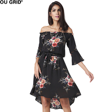 Chiffon Flower Print Casual Dress Women Summer Black Flare Sleeve Asymmetrical Slash Neck Beach Dresses With Belt