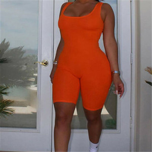 Newest Women Rompers Sleeveless Solid Black Orange Blue Halter Jumpsuit Lady Bodycon Playsuit Slim Short Pants Female Bodysuit