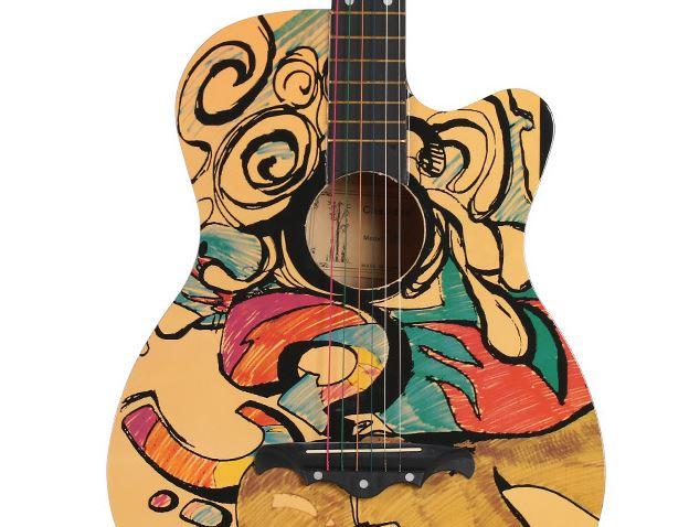 38 inch Folk Guitar Color Painted Graffiti Skull Basswood Six Strings Guitarra Unisex Beginner Home-schooling AGT19 38 inch folk guitar to send full color gifts string linden wood guitar six strings with free shipping
