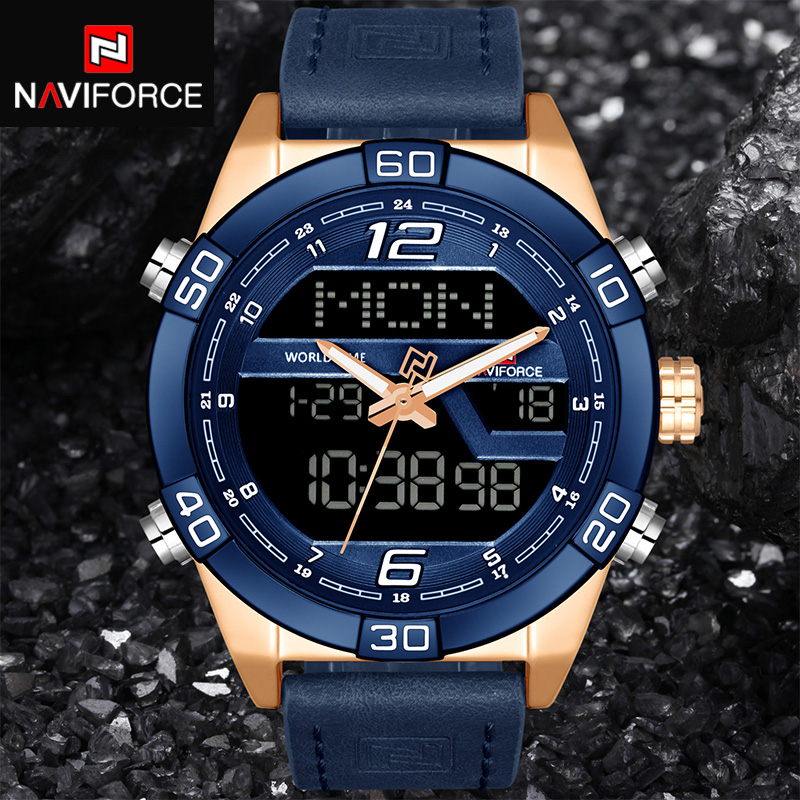 NAVIFORCE Top Luxury Brand Men Military Sport Watches Men's Waterproof Quartz Wrist Watch Male Leather Led Digital Clock 9128 top luxury brand naviforce men sport watches fashion men s military waterproof clock analog 24 hour leather quartz wrist watch