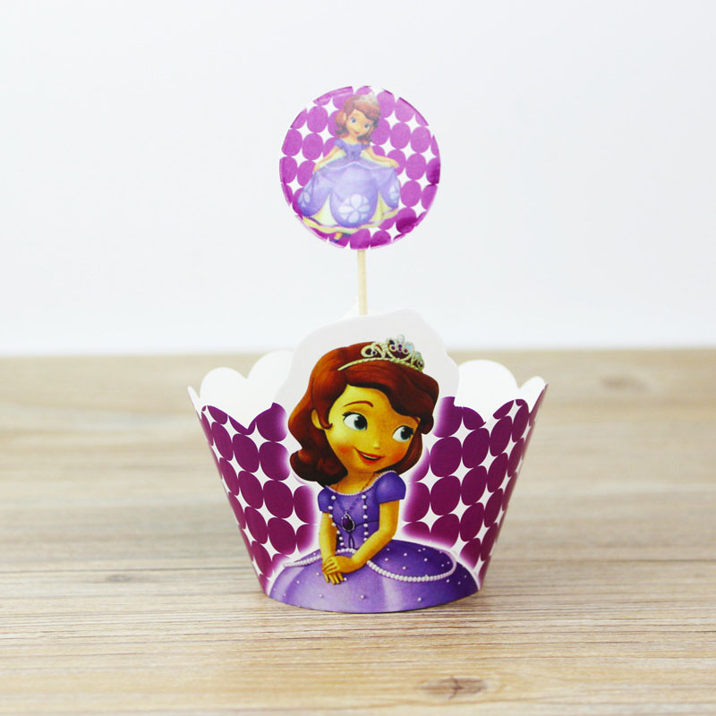 24pcs set Sofia Princess Cupcake Wrappers Toppers For Kid Birthday Party CupCake Toppers Event Party Supplies Wedding Decoration in Cake Decorating Supplies from Home Garden