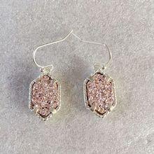 10 colors drusy hexagon dangle earrings  imitation crystal stone druzy earings silver plated brand jewelry For women KS 18