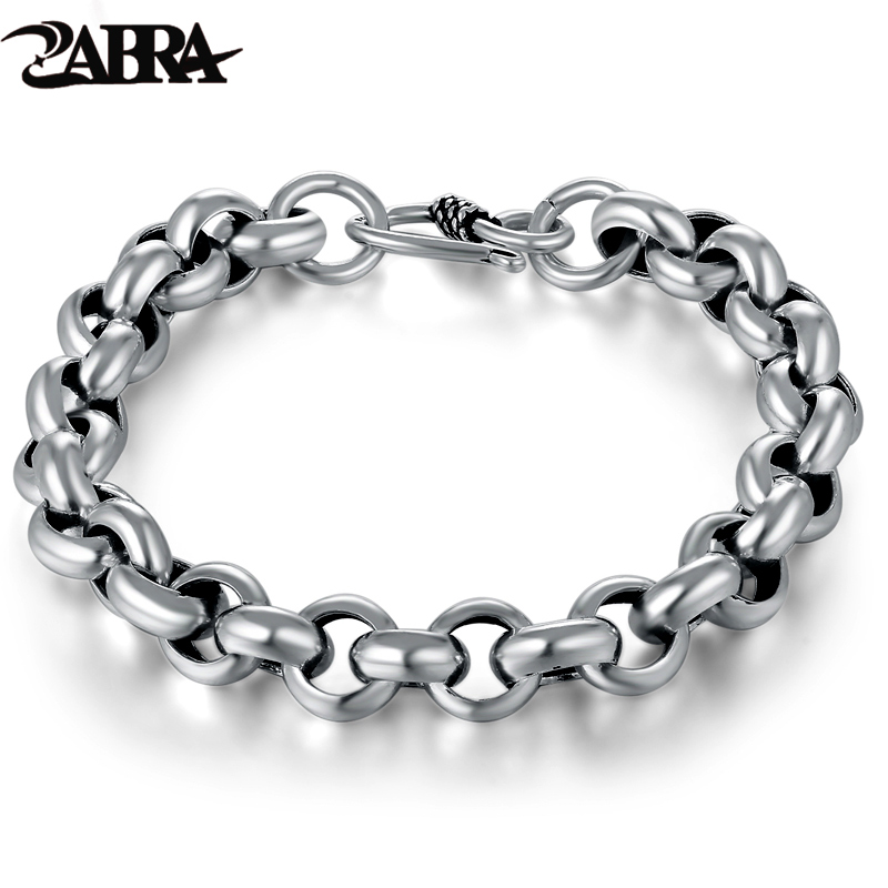 925 Sterling Silver Created Male Interlocking Bracelet Bangles Domineering Thai Vintage Biker Men Fashion Charms Jewelry
