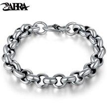 925 Sterling Silver Created Male Interlocking Bracelet Bangles Domineering Thai Vintage Biker Men Fashion Charms Jewelry