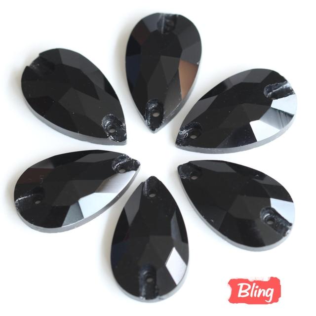 Teardrop Sewing Rhinestones Jet Black Color Tear Drop Crystal Sew-on  Rhinestone 7x12mm 11x18mm 13x22mm 1a369ab080d4