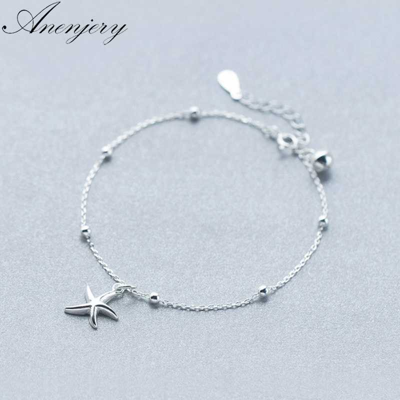 Anenjery 925 Sterling Silver Starfish Bracelet For Women Girl Gift Beads Bracelet pulseira S-B221