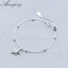 Anenjery 925 Sterling Silver Starfish Bracelet For Women Girl Gift Beads Bracelet pulseira S-B221(China)