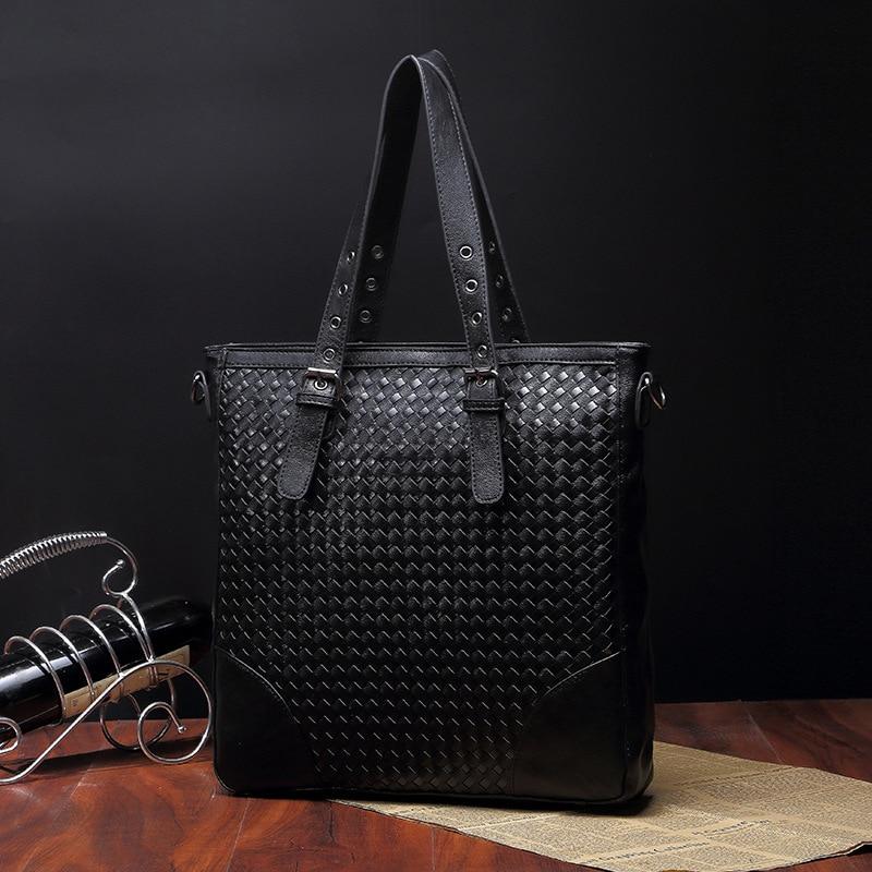 New PU Leather Messenger Bags for Men Casual Crossbody Bag all-match Men Handbags Knit Bag Weave Shoulder Bag europe 2017 new tide female bag chain shoulder bag messenger bag all match