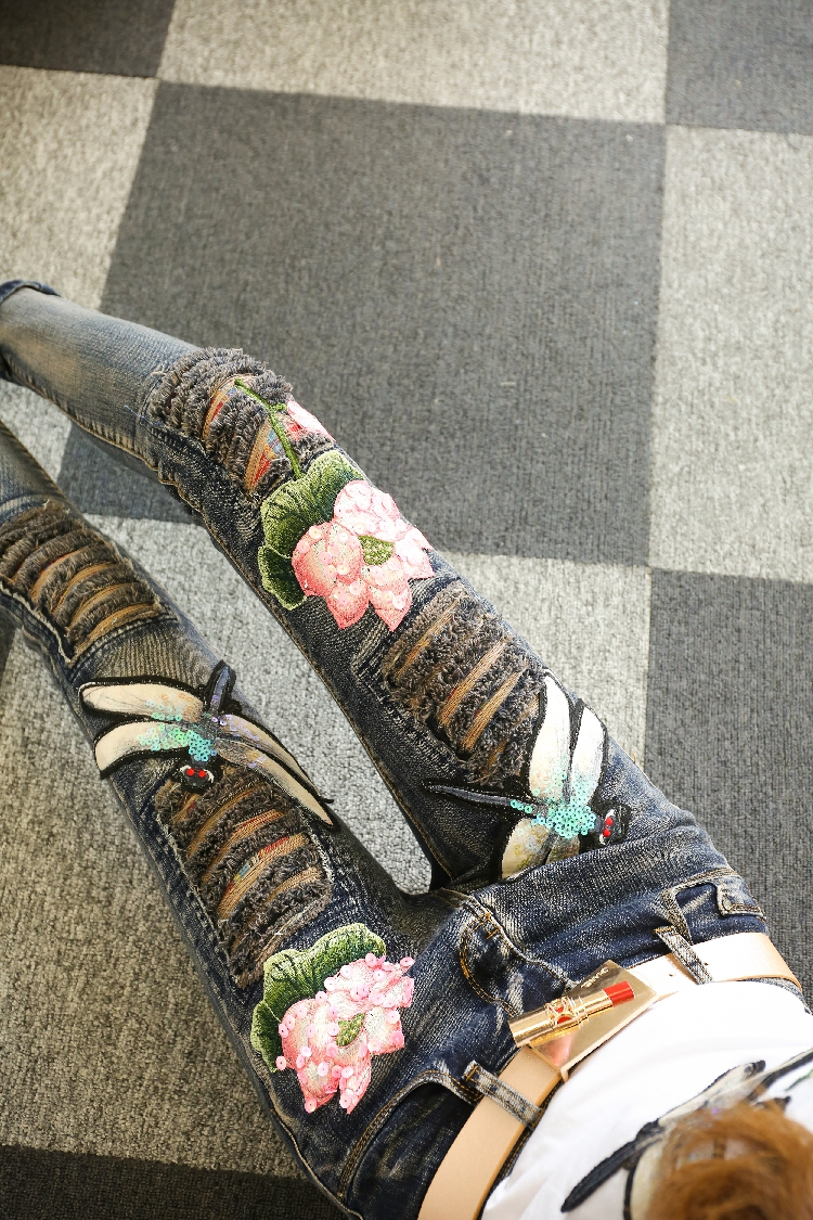 2017 dragonfly holes lady denim jeans, dragonfly jeans pants