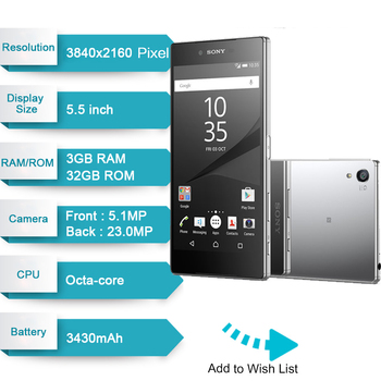 "Sony Xperia Z5 Premium E6883 Dual SIM 3GB RAM 32GB ROM 5.5"" Android Octa Core IPS 23MP Original Unlocked GSM LTE Mobile Phone 1"
