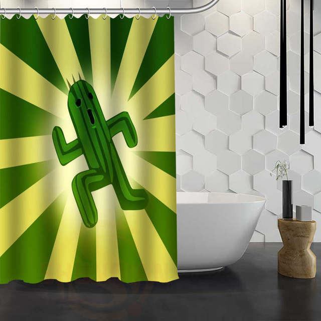 Custom Cactus Shower Curtain Waterproof Fabric For Bathroom WJY117