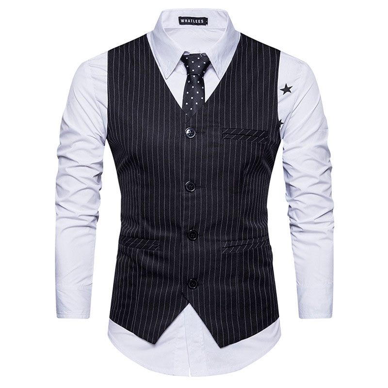 premium selection buying now casual shoes US $16.49 50% OFF|Striped Mens Waistcoat Gilet Homme Classic V Neck Single  Breasted Men Suit Vest Casual Business Wedding Men's Vests Waistcoasts-in  ...