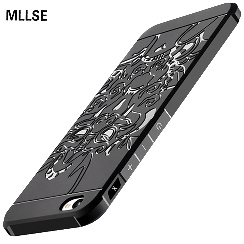 MLLSE Ultra Thin Armor Anti Hit Shock Proof Silicone Case For Meizu Meilan X 5.5 3D Carved Dragon Drop Resistance Rubber Cover