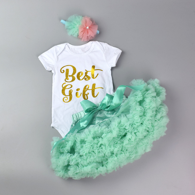e3f4296e9798 Baby Cotton Bodysuit Set Newborn Girls Romper+Layered Pettiskirt + ...