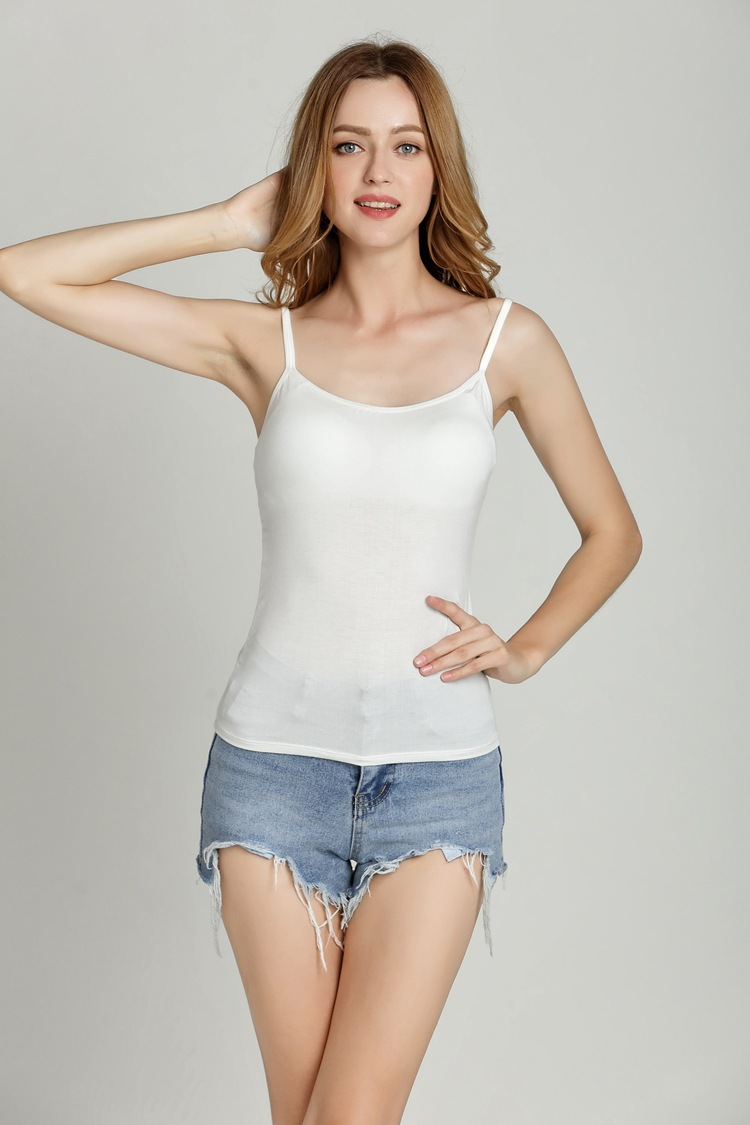 Women With breast pad Condole belt vest Modal female bra-t No rims The bra and cup are one base shirt