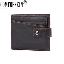 COMFORSKIN Brand Business Short Men Wallet Genuine Leather Cowhide Vintage Design Male Card With Detachable Slots