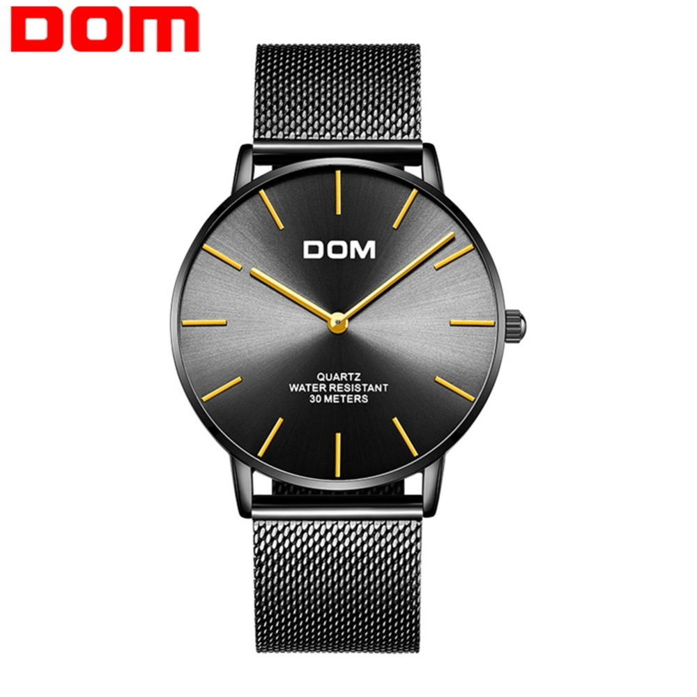 DOM Fashion Mens Watches Top Brand Luxury Quartz Watch Men Casual Slim Mesh Steel Waterproof Sport Watch Men Relogio M-36BK-1MT