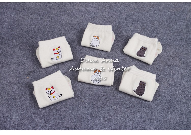 New Arrival White Color Japanese Style Cute Animal Cat Socks Cotton Funny Socks Women 8