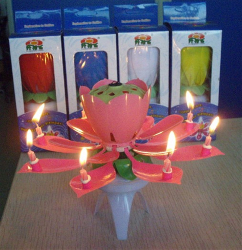 New Art Musical Candle Lotus Flower Happy Birthday Party Gift Rotating Lights Decoration 8 Candles Lamp 11.3*6.6cm Festive & Party Supplies Home & Garden