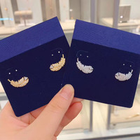 High Quality Swa 1:1 New Feather Ear Nails Silver Rose Gold Colour Jewelry 2019 Stud Earrings For Korean Women
