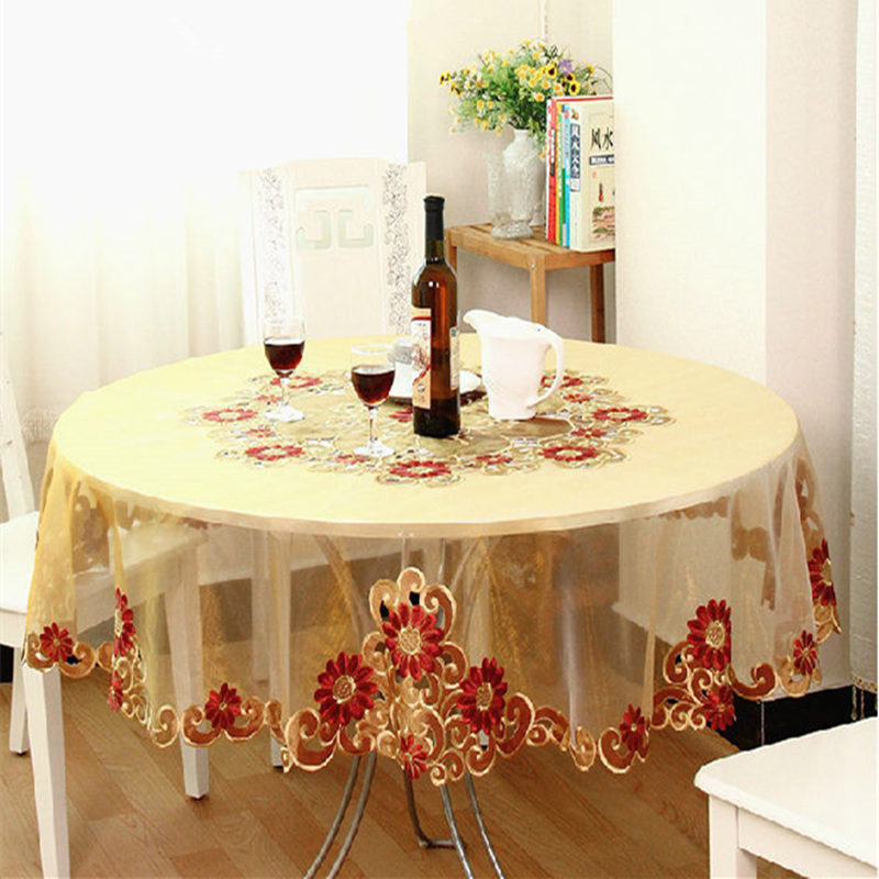 Hot European Tablecloth Embroidery Chair Cover Table Cloth Organza Round Tablecloths Embroidered