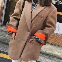 LANMREM 2020 otoño nueva moda Casual mujeres suelta más temperamento de Color sólido de un solo pecho corto abrigo de lana TC790