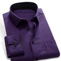 New Men S Brand Shirt Solid Color Fashion Smart Casual Long Sleeve Purple Navy Blue For