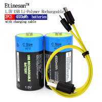 2pcs Etinesan 1.5V 4500mWh Li polymer Lithium Rechargeable Battery C Size Battery, C li ion Battery with USB charging cable