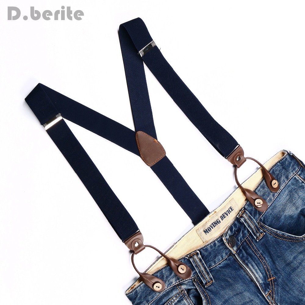 Men Navy Blue Braces Unisex Suspender Women Adjustable Elastic Belt Strap Leather Fitting 6 Button Hole Brace Adult Gallus BD707