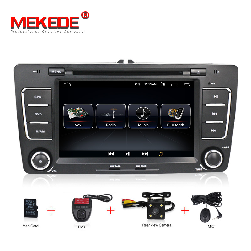 1024x600 Android8.0 16 ROM 8Core 2Din Steering Wheel For Skoda Octavia 2 2012 Car Multimedia DVD Player Fast Boot 1080P