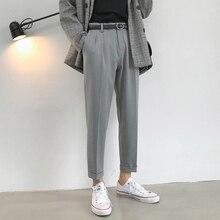 Весенние новые деловые повседневные брюки мужские модные однотонные прямые брюки от костюма мужские уличные дикие свободные брюки мужские